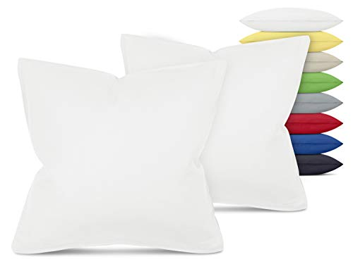 Unifarbene Kissenbezüge im Doppelpack - in 8 Farben und 3 Größen - Moderne Wohndekoration in dezentem Design, ca. 40 x 40 cm, weiß