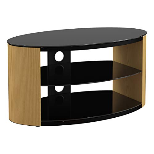 King Universal Oak TV Stand Wood Effect with Black Glass Top & Shelves 80cm suitable up to 40