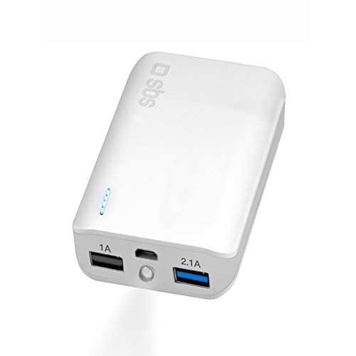 Compacte powerbank met 10000 mAh Li-ion batterij in het vliegtuig, 2 USB 2,1 A en 1,0 A uitgangen, incl. oplaadkabel, wit
