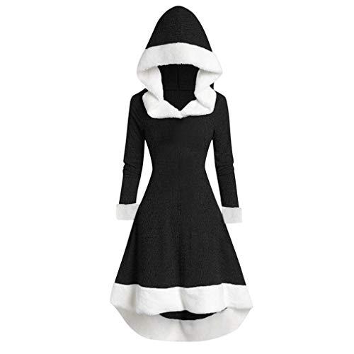 Lazzboy Partykleid Damen Winter Langarm Patchwork Mit Kapuze Vintage Kleid Mittelalter Bodenlangen Cosplay Dress Kleidung Renaissance Kostüm Lang Halloween (Schwarz, 2XL)