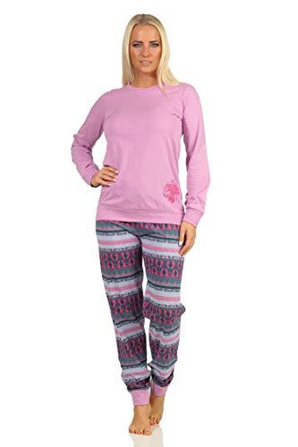 Damen Pyjama Langarm Schlafanzug mit Bündchen im Ethnolook mit niedlichen Tiermotiv Elefant, Farbe:lila, Größe:36-38