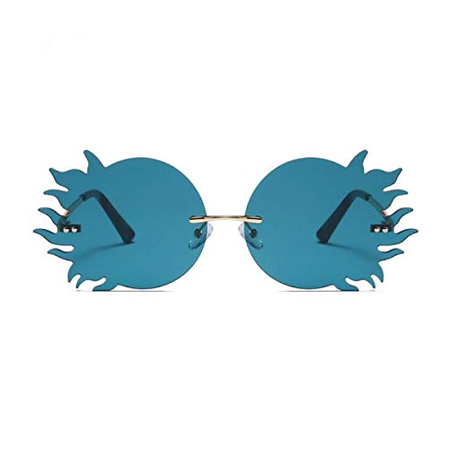 Gafas De Sol Sin Montura, Moda Y Personalidad Gafas De Sol De Llama Redonda Uv400 Gafas De Sol Anti-Ultravioleta Y Anti-Reflejos (5 Colores) Unisex
