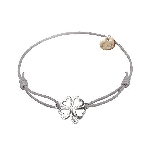 lua accessories - Armband Damen - Elastikband - größenverstellbar - hochwertig versilbertes Kleeblattsymbol - Clover silber (hellgrau)