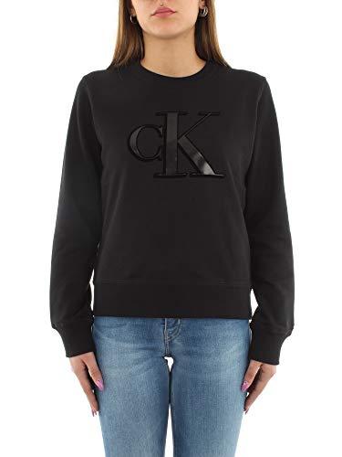 Calvin Klein Jeans Damen Flock Monogram Ck Regular Cn Pullover, Nero, XS