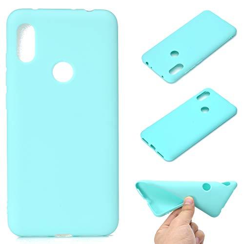 LeviDo Coque Compatible pour Xiaomi Redmi Note 6 Pro Étui Silicone Souple Bumper Antichoc TPU Gel Cover Bonbons Couleurs Design Ultra Fine Mince Caoutchouc Etui, Bleu Vert