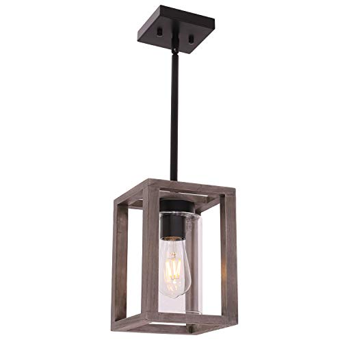VINLUZ 1 Light Farmhouse Pendant Lighting Black Wood Accents...