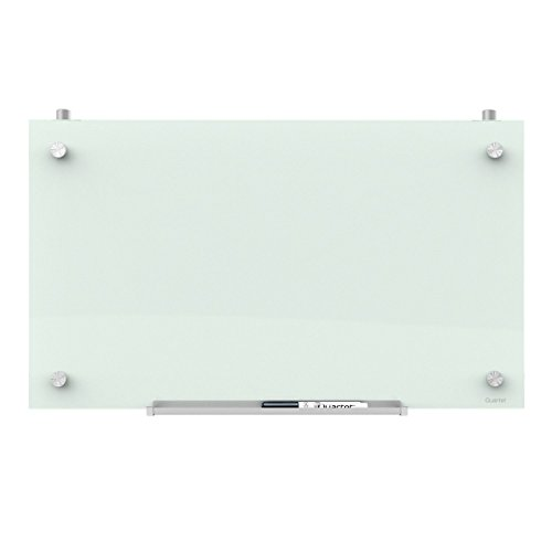 """Quartet Glass Whiteboard, Magnetic Dry Erase White Board for Cubicle Walls, 30"""" x 18"""", White Frameless Infinity Wall Hanging Mount, Home School Supplies or Home Office Decor (PDEC1830)"""