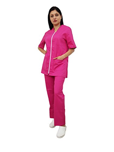 Tecno Hospital Divisa Completa OSPEDALIERA Casacca E Pantalone, OSS, ESTETICA Infermiere, Dottore, Unisex con Zip (M, Fucsia)