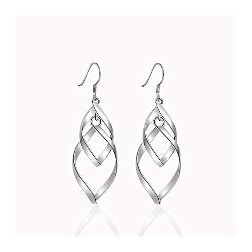 Xx101 Sterling Silver Floral Leaf Long Tassel Twist Earrings For Women's Wedding Jewelry Nixx0 (Color : S2)