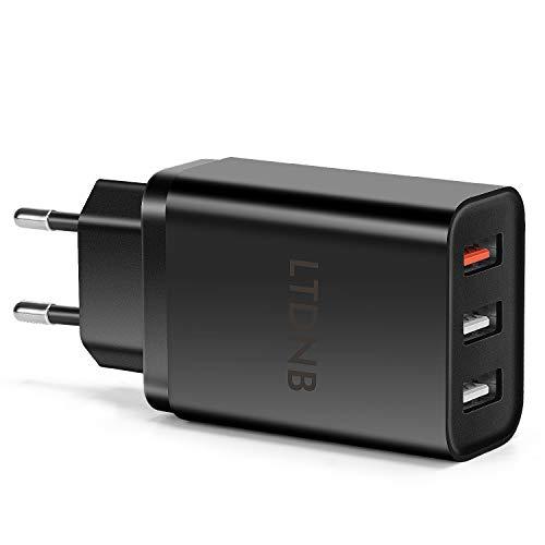 LTDNB USB Ladegerät, 30W 3-Port 6A Ladeadapter USB Netzteil mit iSmart Technologie für iPhone X XS XR XS Max 8 7 6 Plus, iPad, Galaxy S9 S8 Plus, LG, Huawei, HTC, Powerbank, MP3 usw. (Schwarz)