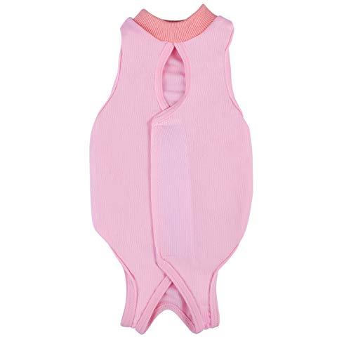POPETPOP Recovery Suit Sterilisation Care Wipe Medizin Verhindern Lecken nach der Operation Tragen Weaning und Warm Recovery Tuch Anzug für Katzen Hunde Haustiere - Größe M (Pink)