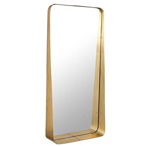 Casa Vivante Spiegel Agna mit Ablage aus Metall Goldfarben - 35,5 x 9 x 76 cm - Wandspiegel vertikal mit Goldrahmen - Badspiegel Gold (35,5 x 76 cm)