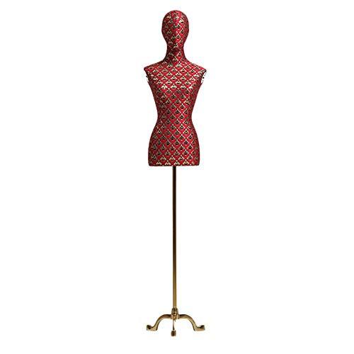LLSS Premium Maniquí Femenino con Tapa de Cuello de Metal y Soporte de trípode, Forma de Vestido Ajustable para exhibición de Trajes, Verde o Rojo