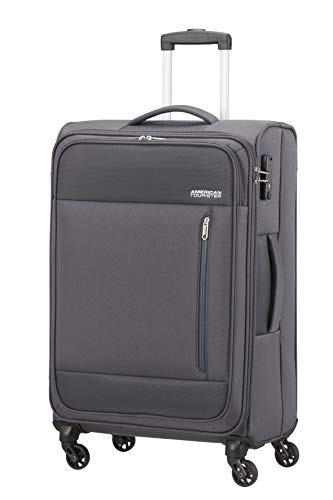 American Tourister Heat Wave Valigia, Spinner M (68 cm - 65 L), Grigio (Charcoal Grey)