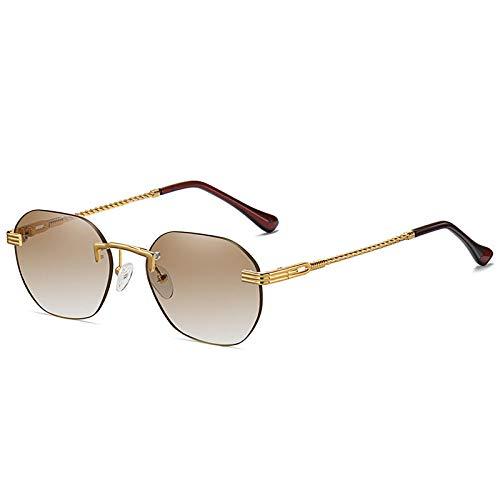 DLSM Vintage Metal Redondo Polígono Gafas de Sol Mujeres Moda de Moda Gafas degradados Oval Oval Colorido Gafas de Sol Trasas UV400-Gradiente de té