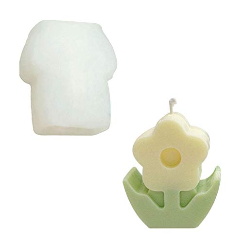 Cute Flower Silicone Mould, Foodgrade Flower Candle Mold for Soy Wax Beeswax Aromatherapy Chocolate Baking Maker, Great DIY Handicraft Candle Making kit (Flower Mould)