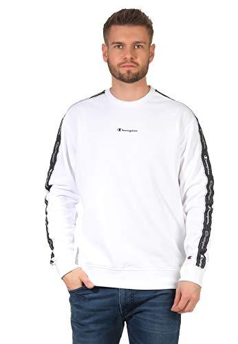 Champion Herren Seasonal American Tape Crewneck Sweatshirt, White, M