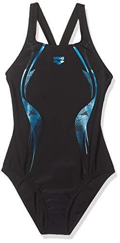 ARENA Mädchen Sport Badeanzug Slinky, Black-Neon Blue, 128