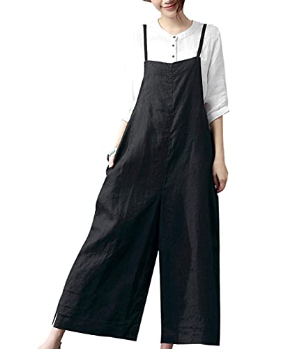 YESNO Women Casual Loose Boyfriend Bib Pants Summer Wide Leg Cotton Jumpsuits Rompers with Pockets XS-5X (M PZZTYP2 Black)