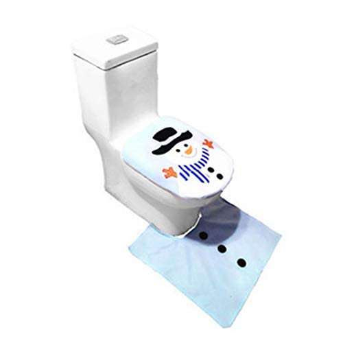 Tiowea 3 stuks cartoon swonman elandpatroon kerst toiletbril cover set decoratie stickers voor wc-deksel Toiletbrilhoes. 3 Größen Blauwe Swonman (2 stuks/set)