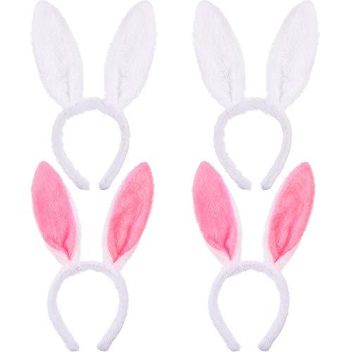 Hasen Haarreif 4 stücke Plüsch Hase Ohren Haarbänder Rosa und weiß für Hochzeit Party Cosplay Kostüm
