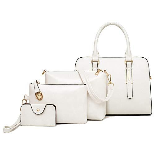 A-hyt diseño cómodo Bolsa de Cuatro Piezas portátiles no problemáticas señoras Moda (Color : White, Size : 29 * 13 * 21cm)