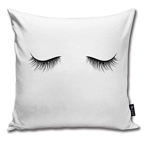 AlineAline Throw Pillow Covers Black Eyelashes Isolated On White Background Throw Pillow Cases Decorative Cushion Covers Pillowcases Square Pillow Covers 18x18inch