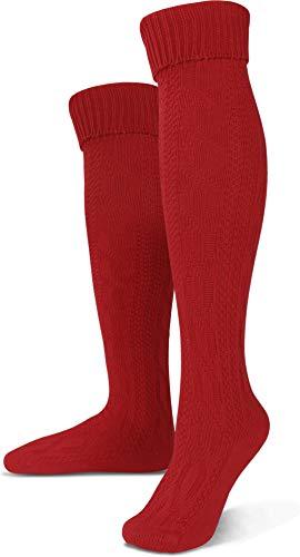 Circle Five Lange Trachtensocken Trachten Strümpfe für Lederhosen Kniebund Socken Natur Farbe Rot Größe 43/46