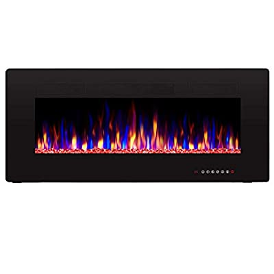"""Antarctic Star 50"""" Recessed Electric Fireplace, Built-in Wall & Wall Mounted Electric Heater, Multicolor Flame & Crystal, 1500W Heater, Touch Screen, Black"""