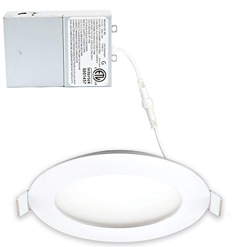 LED FANTASY 4-Inch 9W 120V Recessed Ultra Thin Ceiling LED Panel Downlight Light Dimmable Retrofit Slim Wafer IC Rated ETL Energy Star 750 Lumens 3000K (Warm White) 1 Pack