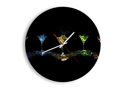 Horloge Murale - Ronde - Horloge en Verre - Pendule murales - 40x40cm - 0442 - Mécanisme d'écoulement - Silencieux - prete a Suspendre - Moderne - Décoration - Pret a accrocher - C1AR40x40-0442