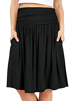 Black Skirts for Women Knee Length High Waisted Black Skirt Flowy Skirt Black Aline Skirt Black Pocket Skirt (Size 1X, Black)