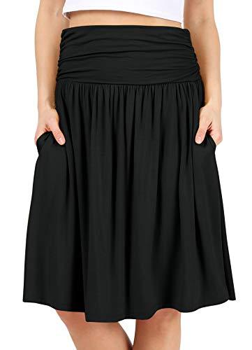 Black Skirts for Women Knee Length High Waisted Black Skirt Flowy Skirt Black Aline Skirt Black Pocket Skirt (Size Small, Black)