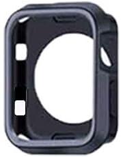 Apple Watch Seri 1 2 3 İçin 42 MM İki Renkli Silikon Tpu Kılıf (Siyah Gri)