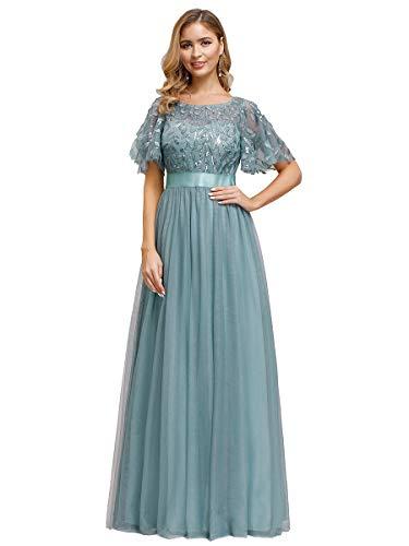 Ever-Pretty Damen Abendkleid A-Linie Spitze Kurze Ärmel Partykleid lang Dunkles Himmelblau 48