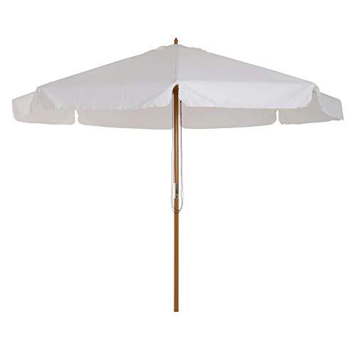 Outsunny Parasol Droit Rond Grande Taille de Jardin Ø 3,25 x 2,5H m Bois de Bambou crème