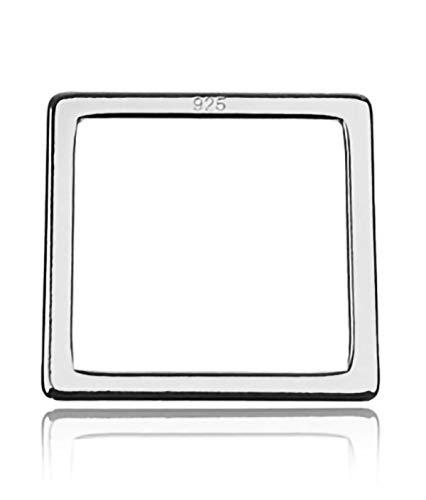 Sadingo Collar de macramé de plata 925 (1 pieza de 10 x 10 mm rodiada), pulsera minimalista