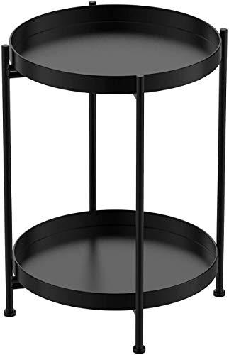 H HOMEWINS Metall Beistelltisch Rund Abnehmbarer Klapptisch mit Doppeltablett Ø40 x H52 cm Couchtisch Sofatisch Nachttisch für Wohnzimmer Schlafzimmer Balkon (Schwarz)