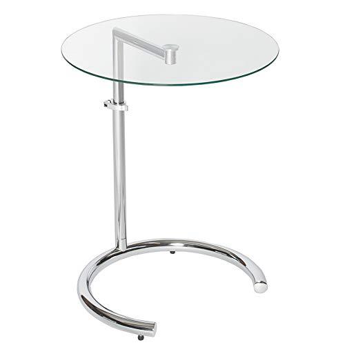 Invicta Interior Design Beistelltisch Effect 50-70 cm Chrom Glas höhenverstellbar Tisch Glasplatte Glastisch Sofabutler