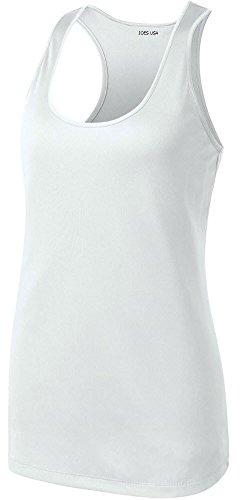 Joe de EE. UU. Racerback Tank Tops para Las Mujeres Absorbe la Humedad Entrenamiento Camisas XS-4X L - Blanco -