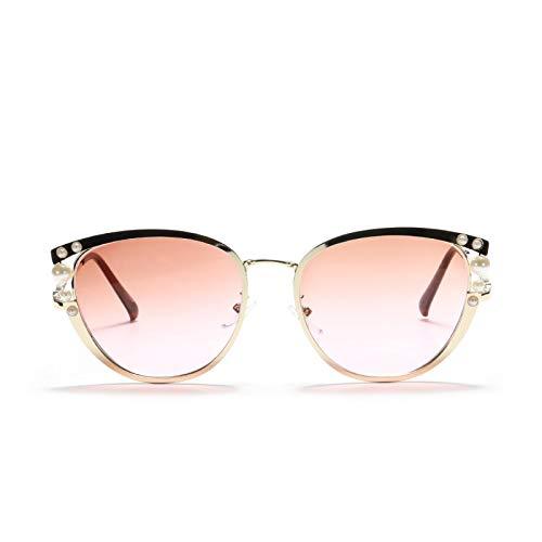 JINZUN Gafas de Sol con Incrustaciones de Perlas, Gafas de Sol de Metal de Moda Retro, Gafas Anti-Ultravioleta para Exteriores, Polvo de té