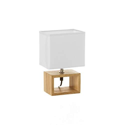 Lámpara de mesita de noche nórdica de madera marrón de 24x10x15 cm.