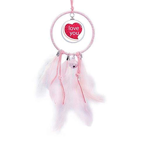 Atrapasueños con forma de corazón rosa para el día de San Valentín, decoración de dormitorio