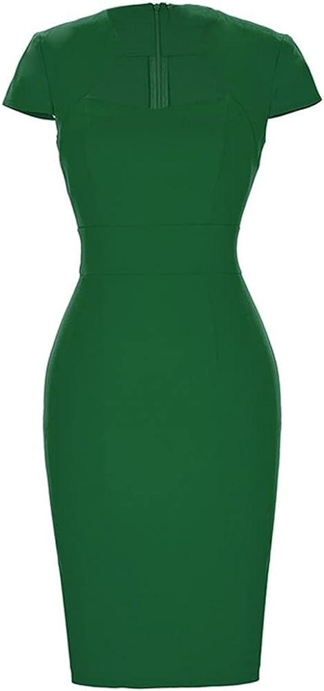 NP Women's s Pencil Dress Cap Sleeve Wiggle Dress Color Work