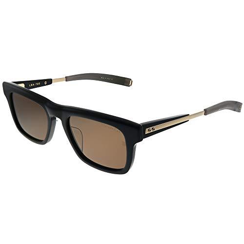 Dita Lancier DLS700 53-02 - Gafas de sol rectangulares de plástico, color negro y dorado, lentes polarizadas marrones