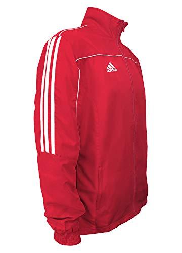 adidas Combat Sports - Chaqueta deportiva de manga larga (3 rayas, 100% poliéster), color rojo y blanco