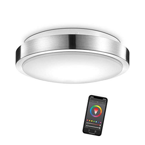 """Globe Electric 60839 Wi-Fi Smart 11"""" Flush Mount Ceiling Light, Brushed Nickel, No Hub Required, Energy Star, 16 Watts, Multicolor RGB, Tunable White, 1120 Lumens, 50,000 Hours, 80 CRI"""