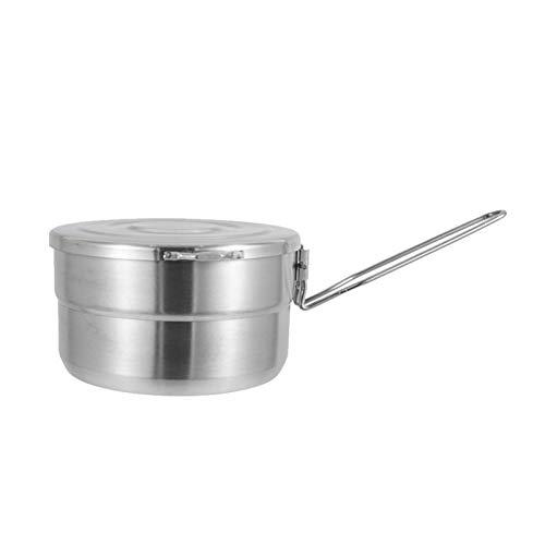 QOTSTEOS Olla Bento de acero inoxidable, gran capacidad para acampar al aire libre, caja de almuerzo reutilizable para almacenar alimentos/pote/bolsa de almuerzo (plata)