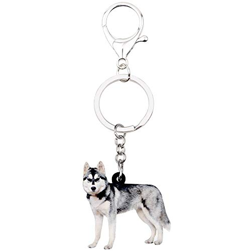 GPZEDCDB Key Chains Keyring Acrylic Siberian Husky Dog Key Chains Keychain Rings Novelty Gift for Women Girl Ladies Hand Bag Car Charms Animal Jewelry