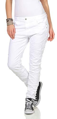 KAROSTAR Chino Damen Jeans Baggy Weiß